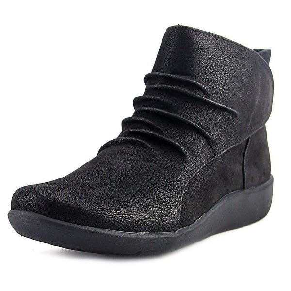 Clarks Cloudsteppers Sillian Sway Women Round Toe Leather Black Ankle Boot