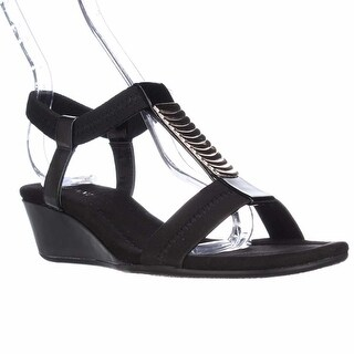 A35 Vacay Wedge T-Strap Sandals, Black