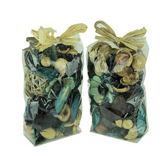Double Bag Lot of Blueberry Blue and Beige Dried Botanical Decorative Filler - 9 X 5 X 3 inches