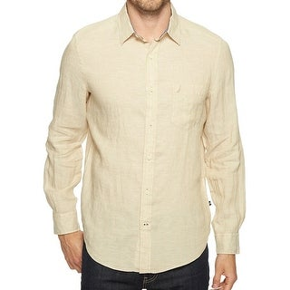 Nautica NEW Beige Mens Size Large L Long Sleeve Button Down Shirt