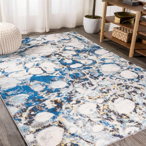 JONATHAN Y Pebble Navy & Gray Marbled Abstract Area Rug