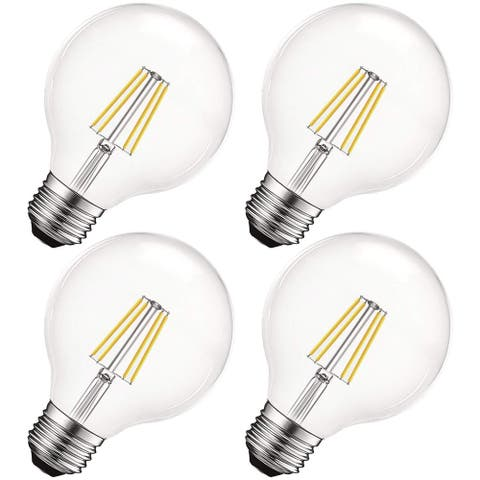 Luxrite Vintage G25 LED Globe Light Bulbs 60W Equivalent, 550 Lumens, Dimmable, Clear Glass, E26 Standard Base (4 Pack)