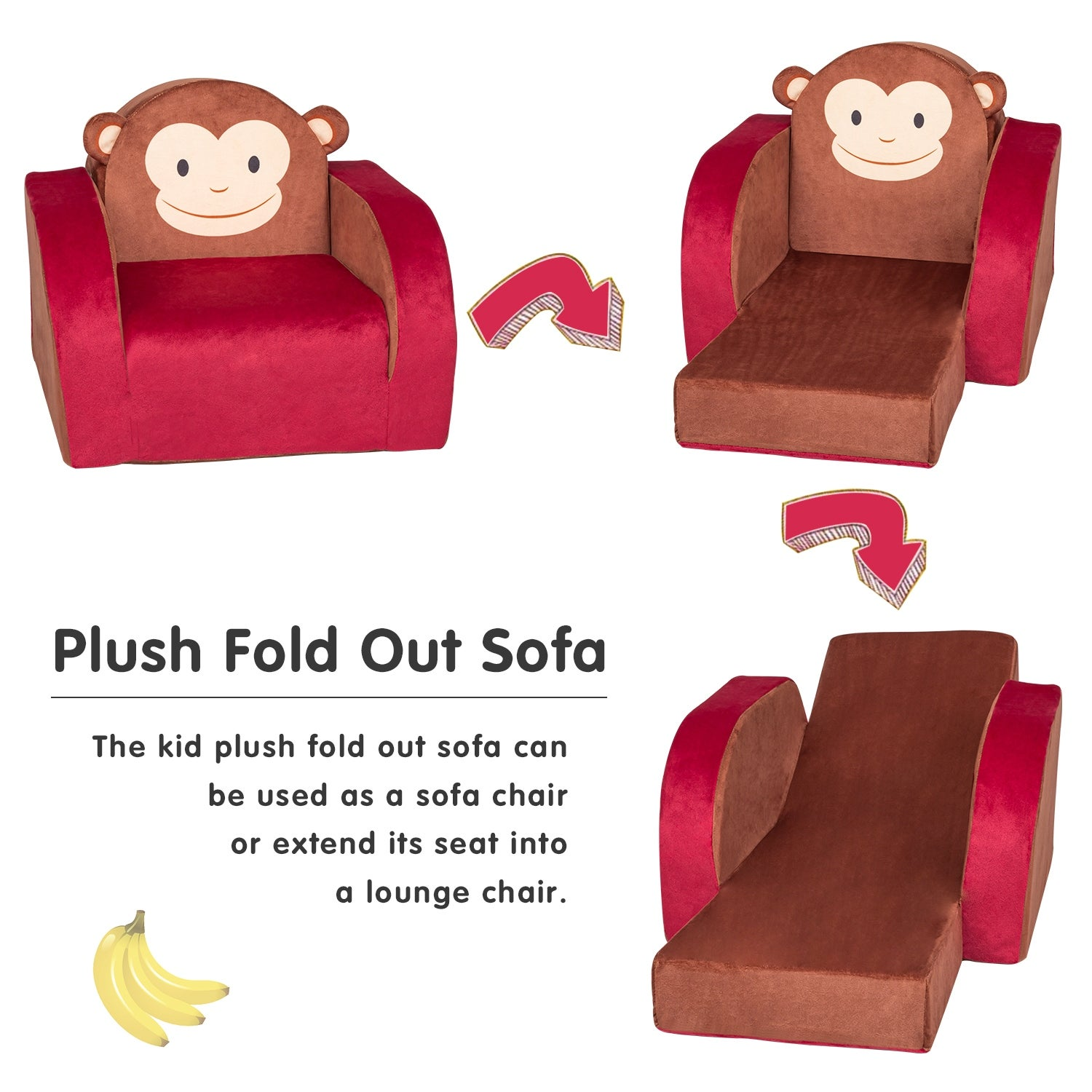 Shop Kinbor Kids Sofa Children Couch Plush Armrest Chair 3 In 1 Fold Out Chair Bed For Nursery Toddler Lounge Bed Reliner Monkey On Sale Overstock 31491365