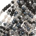 Czech Seed Beads Mix Lot 11/0 Top Hat Black White Silver - Thumbnail 0