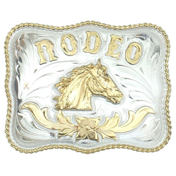 German Silver Tone and Gold Tone RODEO Belt buckle - One size