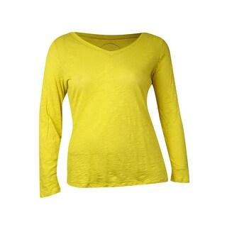 INC International Concepts Women's Long Sleeve V-Neck Top