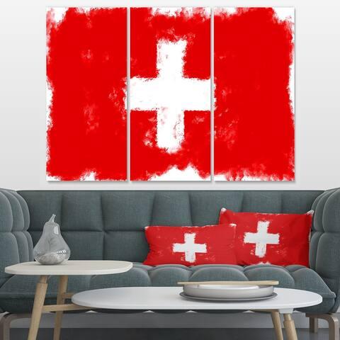 Designart 'Switzerland Flag' Flag Canvas Print - 36x28 - 3 Panels