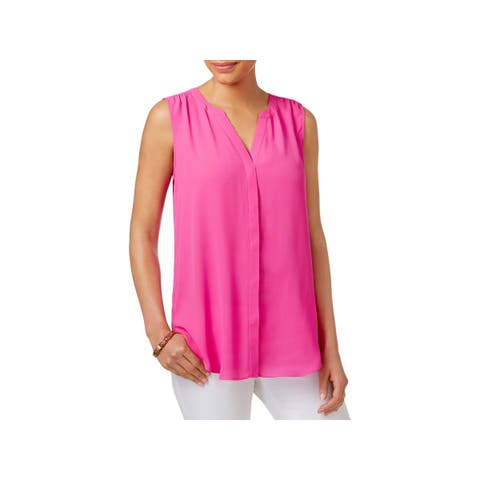 NYDJ Womens Blouse Pleated Button Down