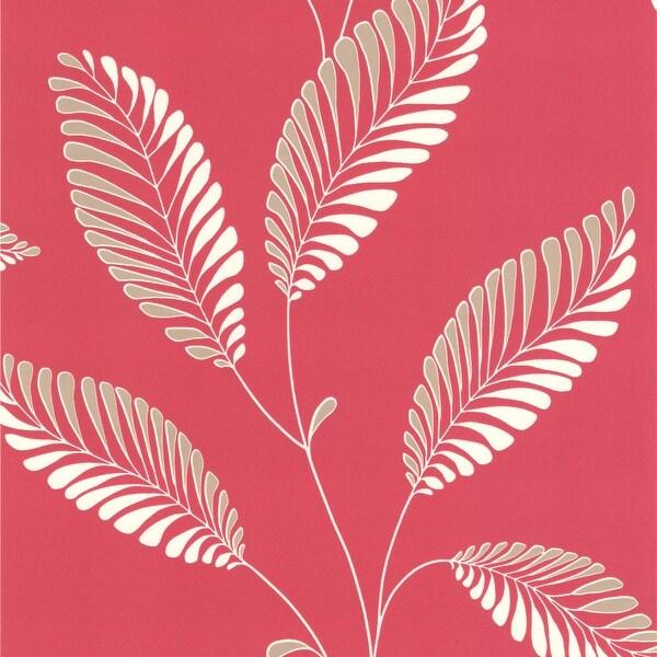 Brewster DL30466 Aubrey Pink Modern Leaf Trail Wallpaper - N/A