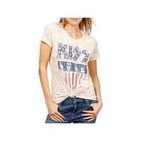 Lucky Brand Womens KISS Graphic T-Shirt Heathered Glitter