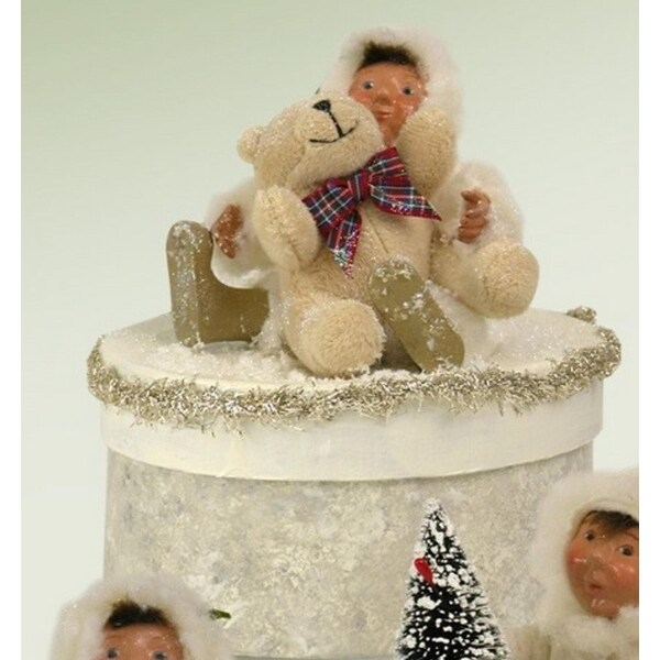 "6.5"" White Glittered Yule Box with Toddler and Teddy Bear"
