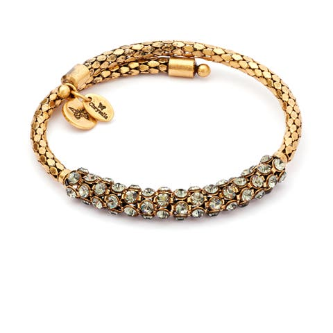 Bohemia Curiosity Antique Crystal Wrap Bangle, Yellow Gold Plated