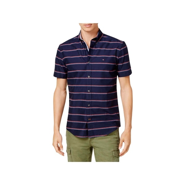 c9dec13a Shop Tommy Hilfiger Mens Button-Down Shirt Diamond Striped Short SLeeve -  Free Shipping On Orders Over $45 - Overstock - 22902000