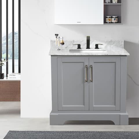 Gray Marble Top Single Solid Wood Bathroom Vanity
