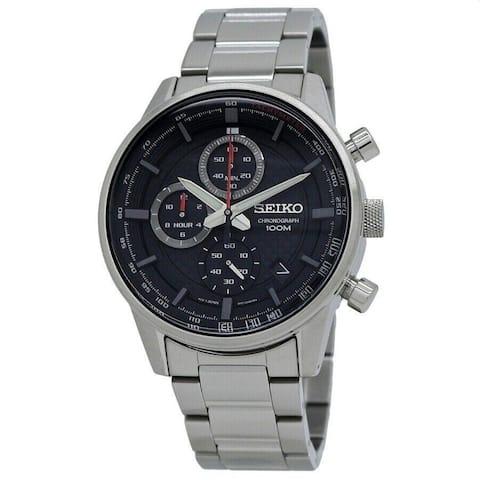 Seiko Men's SSB313 'Sports' Chronograph Stainless Steel Watch - Black