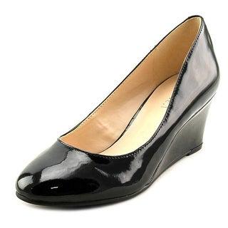 Nine West Ispy Women Open Toe Synthetic Black Wedge Heel