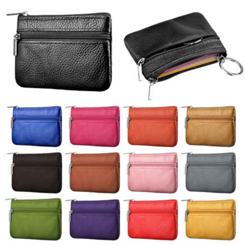 Zip Leather Wallet Pouch Bag