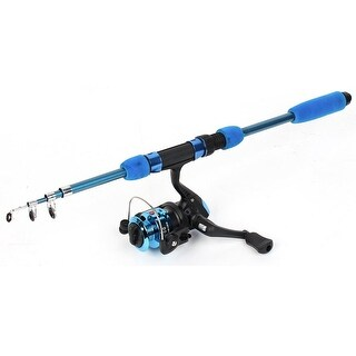 Unique Bargains Cyan Foam Handgrip 4.59Ft Long Fishing Rod w Fishing Spinning Reel