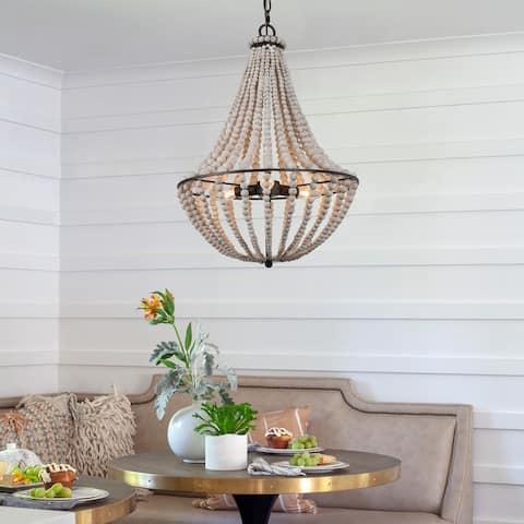 "Modern Farmhouse 3-light Aged Wood Beads Chandelier Coastal Boho Ceiling Lights - D15.5"" x H22"""