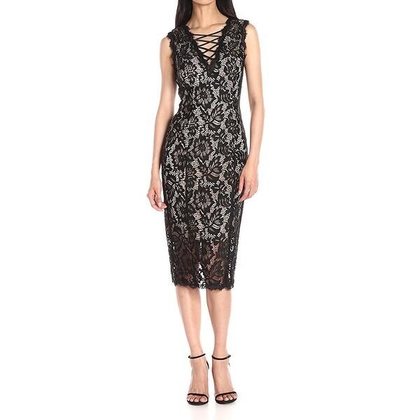 1e9bc3ce Shop Betsy & Adam Black Nude Womens Size 6 Floral-Lace Sheath Dress ...