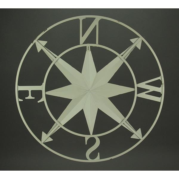 Distressed Metal Indoor//Outdoor Compass Rose Wall Sculpture 28 Inch