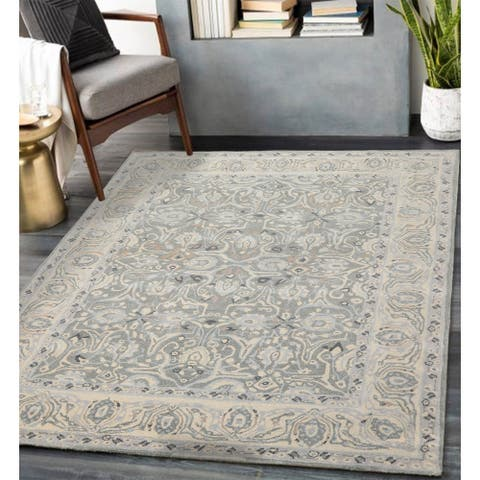 8x10 Hand Tufted 100% Wool Patterned Designer Area Rug Gray Color