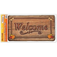 """Club Pack of 12 Autumn Welcome Sign Peel 'N Place Decorations 24"""" - Brown"""