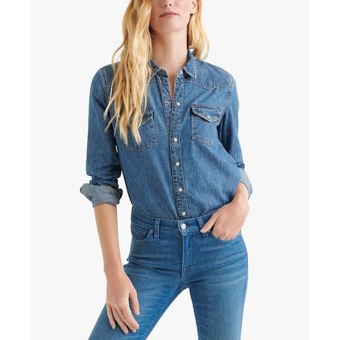 Lucky Brand Women's Western Button UP Shirt, Clay, M
