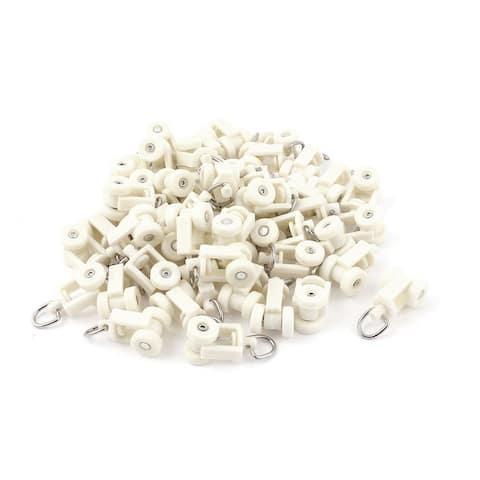 "50pcs Plastic 10mm Dia Wheel Oval Ring Curtain Track Carrier Rollers - Beige - 1""x0.6""x0.47""(L*W*T)"