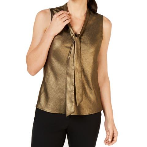 Kasper Women's Blouse Antique Gold Size Medium M SKinny-Tie Metallic