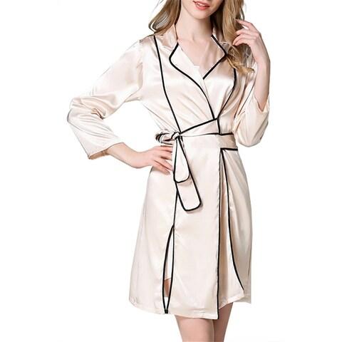 QZUnique Women's Bathrobe Long Sleeves Pajama Sleepwear Loungewear