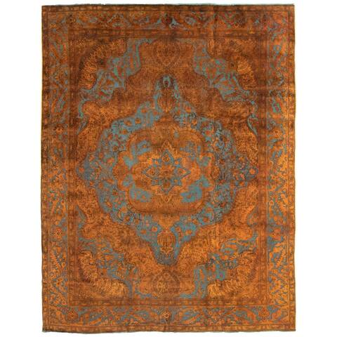 """Hand-knotted Color Transition Brown Wool Rug - 9'11"""" x 12'10"""""""