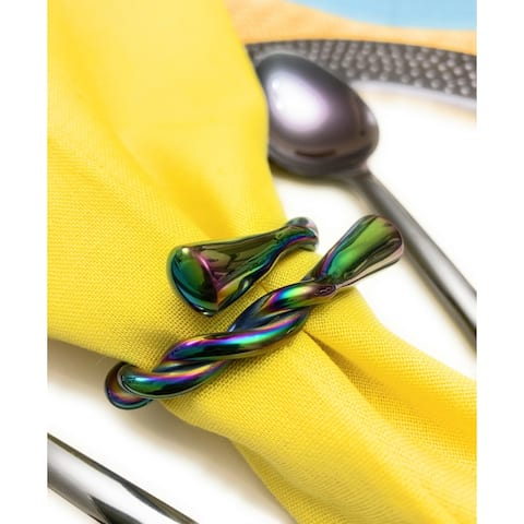 Modern Napkin Rings Set of 8 (Rainbow, Dishwasher Safe)