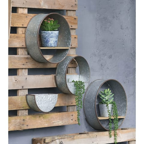 A&B Home Zale Gray Round Wall Planters (Set of 5)