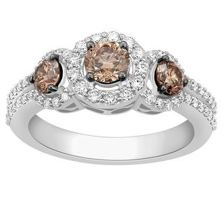 Diamond Engagement Ring 1.2cttw 14K White Gold Brown and White Diamonds