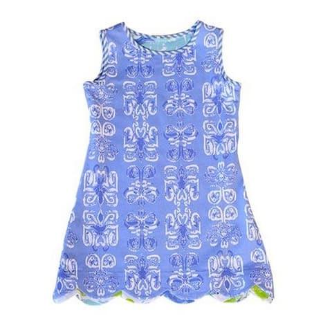 Little Girls Peri White Batik Swing Sleeveless Stylish Lola Tunic Dress