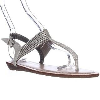 Pink & Pepper Mega2 T-Strap Low Wedge Sandals - Silver