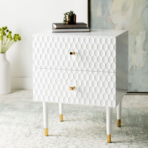 """SAFAVIEH Couture Neptune 2 Drawer Side Table - 21.3"""" W x 16.9"""" L x 25.6"""" H"""