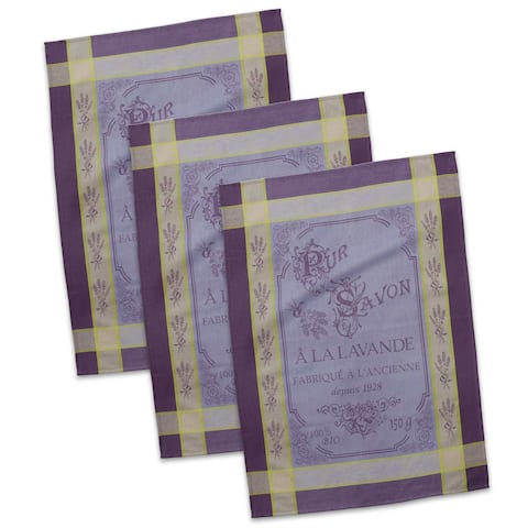 """Set of 3 Violet and Green French Pure Savon Jacquard Dish Towels 20"""" x 28"""" - N/A"""