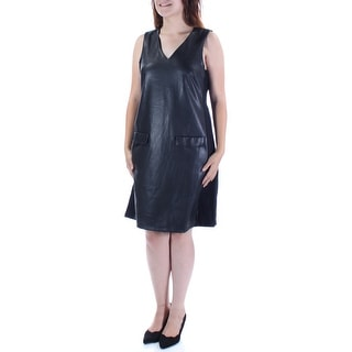 ALFANI Womens Black Sleeveless V Neck Above The Knee Shift Dress  Size: 4