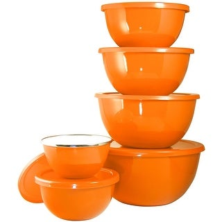 Calypso Basics by Reston Lloyd 12-Piece Enamel on Steel Bowl Set with Airtight Lids, Orange