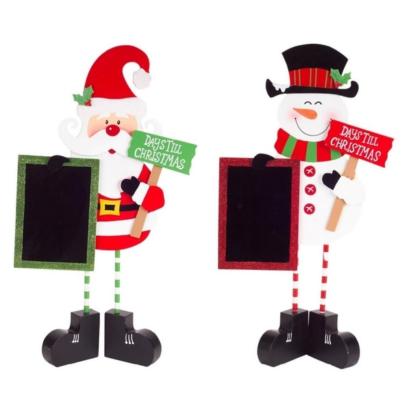 Pack of 4 Santa and Snowman Days 'Til Christmas Chalkboard Decorations 18""