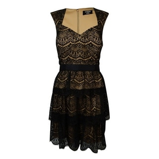Guess Women's Macayla Queen Anne Tiered Lace Dress