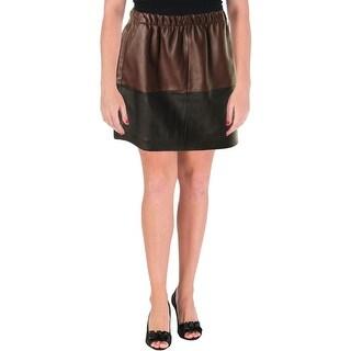 Vince Womens Leather Colorblock Mini Skirt - S
