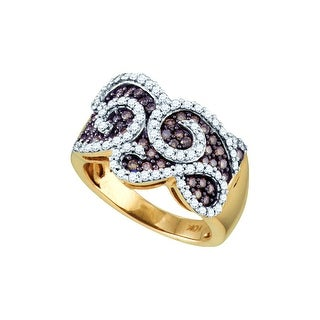 10kt Yellow Gold Womens Round Cognac-brown Colored Diamond Swirled Cocktail Fashion Ring 1.00 Cttw - Brown/White