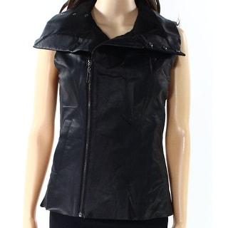 Echo NEW Black Womens Size Medium M Faux Leather Zip Up Vest Jacket