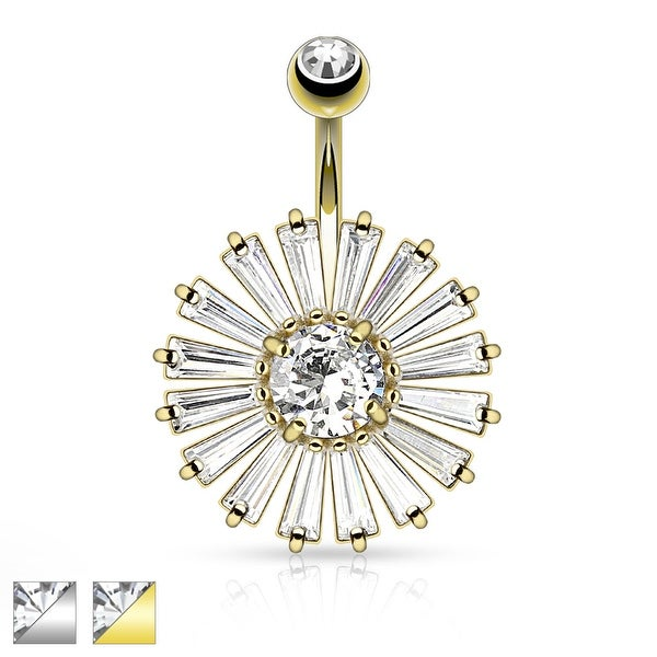 Princess Cut CZ Shield with Clear CZ Center Navel Ring