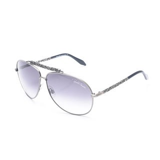 Roberto Cavalli Women's Intricate Aviator Sunglasses Silver - Small