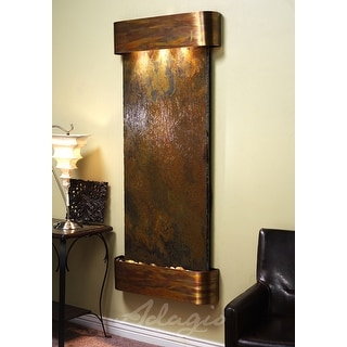 Adagio Inspiration Falls Fountain w/ Green Rainforest Marble in Blackened Copper