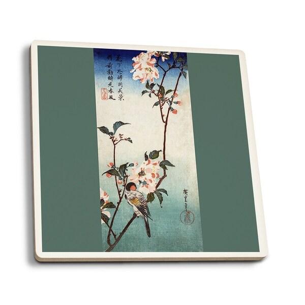 Small Bird on Kaidozakura Branch Japanese Wood-Cut (Set of 4 Ceramic Coasters)